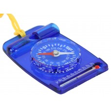 Compass with thermometer and whirstle