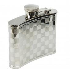 High quality stainless steel liquor flask with checkerboard design