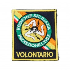Embroidered patch Volunteer for Civil Protection of the Sicily Region 7 x 6 cm